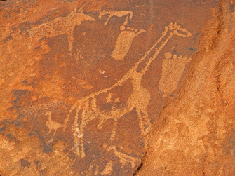Felsmalerein in Twyfelfontein in Namibia
