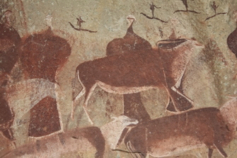 Felsmalereien der San im Drakensberg in Südafrika