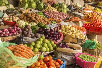 Obst und Gemüse auf dem Herero Markt in Katutura in Namibia