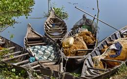 Fischerboote - Tonle Sap - Kambodscha