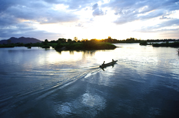 Sonnenuntergang - Mekong Inseln - Laos