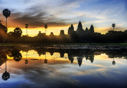 Laos Kambodscha Reise - Sonnenuntergang ueber Angkor Wat - Kambodscha