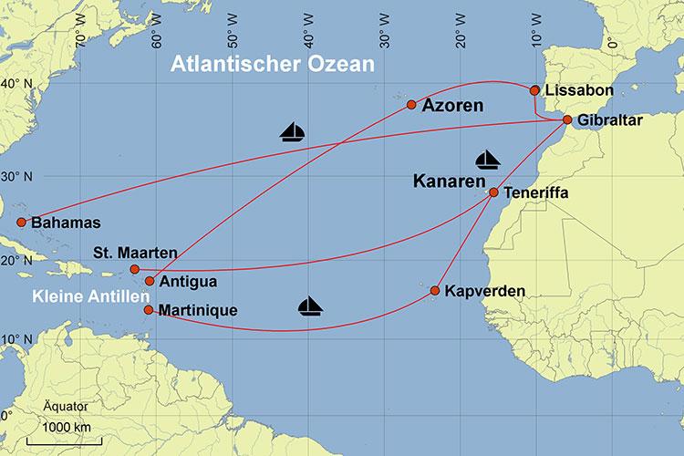 Karte Segelkreuzfahrt Karibik