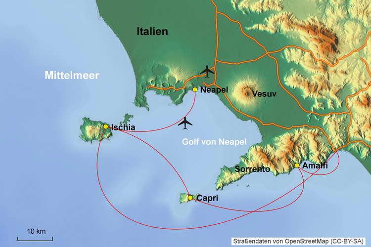 Karte Segelkreuzfahrt Amalfi