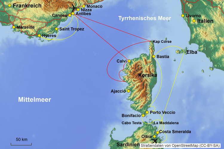 Karte Segelkreuzfahrt Korsika und Sardinien