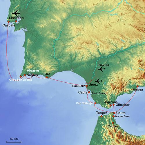 Karte Segelkreuzfahrt Portugals Küste